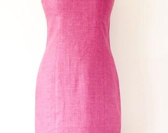 KALIKO Fuchsia Pink Linen Dress, Summer Linen dress, Holiday Linen Dress, Spring Linen Dress, UK Size 12