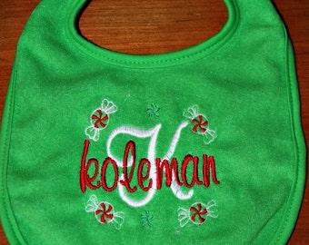 Custom embroidered Christmas bib