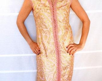 Gold kaftan dress pink sleeveless kaftan Plus Size Indian tunic dress Handmade Moroccan kaftan sleeveless Vintage 60s Size 14