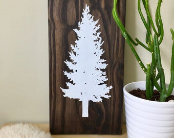 Wood Wall Art, Tree Painting, White Tree, Spruce Tree Art, Pine Tree Art, Outdoor Art, Tree Home Decor, Tree Wall Decor, Tree Wall Hanging