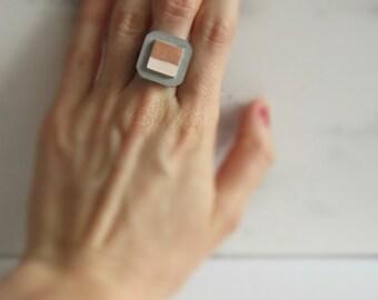 Concrete ring square/colour mix/square/bicolor/colour match/pink/copper/swatches