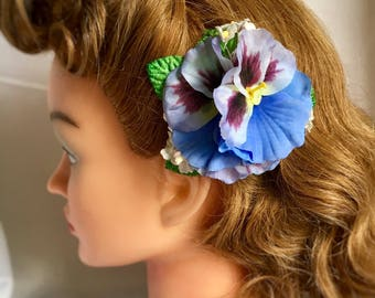 Blue pink hair flower clip - spring pansy posy hair flower in periwinkle blue with velvet leaves - 40s 50s pin up vintage style - small