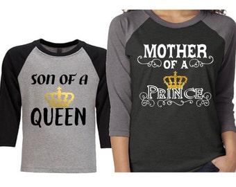 Mother of a Prince Baseball Raglan Shirt|Son of a Queen Shirt
