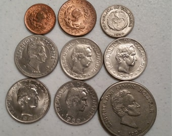 9 colombia vintage coins 1954 - 1969 coin lot centavos bolivar - world foreign collector money numismatic a38