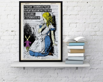 Alice in Wonderland Dictionary print Alice dictionary page paper art home wall decor vintage poster Unique Mad hatter Cheshire cat