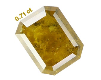 0.71 Ct Natural Loose Diamond Cut Emerald Shape Yellow Color N2223
