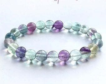 Fluorite Gemstone Crystal Bracelet Multi Coloured Grade A+ Stone And Strong Elastic Cord