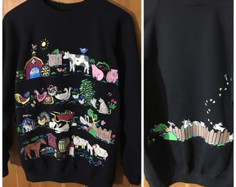 Farm Animals Vintage Crewneck Sweatshirt Bubble Print