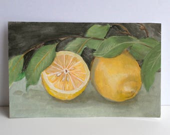 Lemons and Leaves, original gouache painting