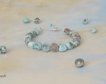 Delicate Natural Larimar Bracelet-Talisman, Larimar Bracelet, Blue Bracelet, Tender Bracelet, Bracelet-Talisman, Beaded Bracelet, Small