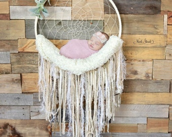 Dream Catcher Newborn Photography Prop - Photo Prop - Ivory - Woodlands - Natural - Hemp - Boho Babies - Bohemian Dreamcatcher