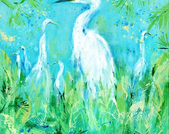 Emerging Egrets Tropical: Color edited fine art giclee egret print from original egret painting