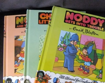 Vintage Noddy vintage books collection of three books by Enid Blyton childrens classic books