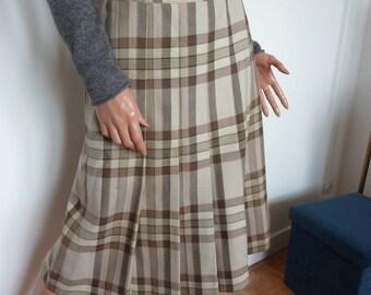 Vintage 80s MAX MARA Woollen Kilt Wrapover Skirt  Check Pleats Italian Made Julie d'Albi Size 42 14  US 12 Coffee Cream Neutrals Cashmere