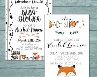 Adventure Forest Animals Baby Shower Invitation with Matching Cards