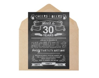 Mens Birthday Invitation - Custom, Personalised, Printable, DIY Print - Blackboard Vintage Beers