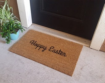 READY TO SHIP | Holiday Welcome Mat | Hoppy Easter Doormat | Spring Doormat | Seasonal Decor | Easter Decor | Howdy | Hand Painted | Mat