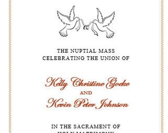 Catholic Wedding Ceremony Mass Printable DIY Program Template