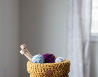 Ready to ship! Crocheted foldover basket // featured in the color Mustard