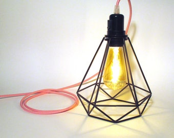 Lighting lampshade Diamond for pendant or put-lamp with large diamond steel cage XXL -Textile cable and bakelite socket - refLB2diam