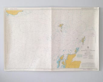 Large Naval Map / Poster of the Atlantic Ocean - Scotland to Iceland - Faroe Islands - Vintage - Wall Art