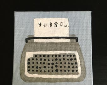 Typewriter Original Acrylic Mini Painting