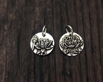 11mm Sterling Silver Lotus Charm Pendant,Sterling Silver Lotus Flower Charm Pendant,yoga jewelry