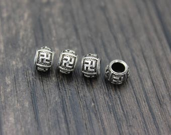4pcs- Sterling Silver Hindu Buddhism Swastika Srivatsa beads,Swastika Beads,Hindu sign of good luck,Ganesh