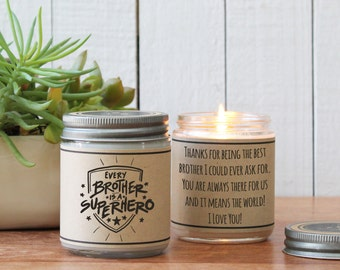 Every Brother is a Super Hero Candle | Sister Gift | Gift for Sister | Sister Candle | Personalized Sister Gift | Candle Gift for Sister