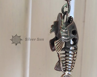 Pendant Old Style Skeleton Fish Sterling Silver Necklace Brown Cotton Cord Adjustable Any Size Silver Sun Jewelry Handmade Made in Bali