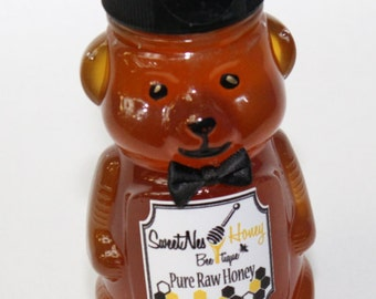 8oz Small Honey Bear 100% Pure Unfiltered Raw Organic Honey