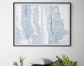 NYC Map, New York City Map, New York Map, City Map, Map of nyc, Manhattan Map, NYC, NYC Art, nyc Print, Purple Map, 127