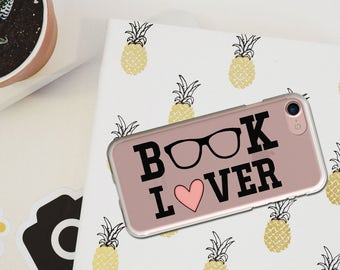 iPhone Case BOOK LOVER, Art Book Lover Transparent iPhoneCase, 5/5s/SE, iPhone 6/6s, iPhone 6Plus/6sPlus, 7/7Plus