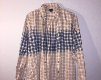 Bleached / Dip Dyed / Blue Plaid Flannel