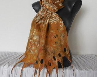 Merino and Silk Scarf, Catechu Wedding Scarf, Beige Orange Wrap, Womens Merino Scarves, Nuno Felting Scarf, Nuno Felt Light Multicolor Shawl