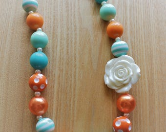 Teal and Orange Chunky Bead Necklace with White Flower Accent