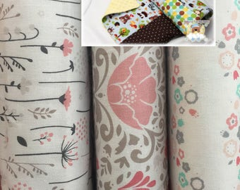 Girl Patchwork Blanket Gray Pink Bedding Nursery Blanket Handmade Blanket Cotton Minky Baby Toddler Crib Bedding Lap Blanket