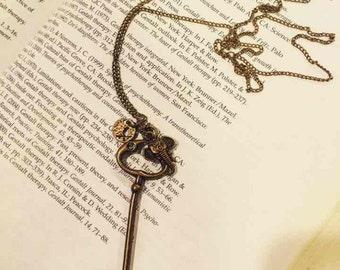 Bronze brass vintage skeleton key necklace pendant key necklace long necklace Antique key Steam punk