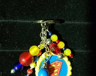 Superman Beaded bottlecap keychain