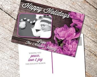 Holiday Card with Custom Photo, Printable, Happy Holidays, Merry Christmas card with custom photo, postcard