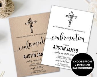 Confirmation Invitation | First Communion Invitation | First Holy Communion Invitation | Baptism Invitation | Christening Invitation