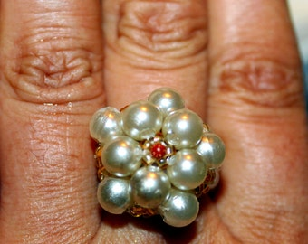 Pearl & gold stone-beaded handmade ring; beadweaving, beautiful, casual wear, party wear
