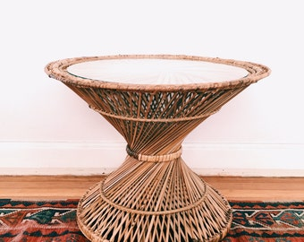 SOLD // Vintage Rattan Hourglass Side Table w/ Glass