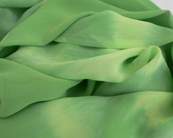 NEW! Pure Silk Georgette Scarf - 'New Growth' - Handmade and Hand dyed