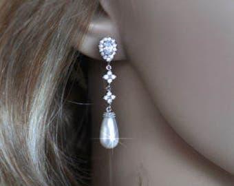 Handmade Cubic Zirconia CZ and Swarovski Teardrop Pearl Dangle Bridal Earrings,  Bridal, Wedding (Pearl-627)