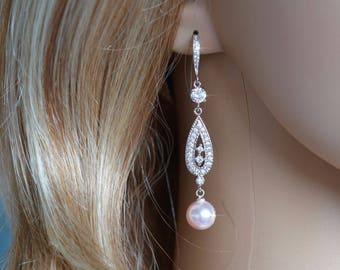 Rhodium or Rose Gold Handmade Vintage Inspired Cubic Zirconia CZ & Swarovski Teardrop Pearl Dangle Earrings, Bridal, Wedding (Pearl-798)