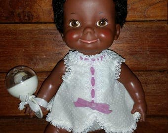 Belly Button Baby Doll With Rattle AA African American Vintage