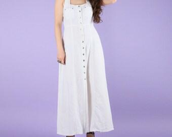 80s Vintage White Bohemian Cotton Lace Up Maxi Dress
