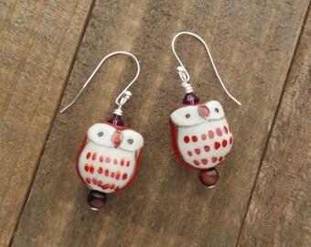 Red Owl Beaded Earrings - Silver Owl Earrings - Handmade Beaded Earrings by LittleMillieShop