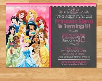 Disney Princess Invitation - Chalkboard - Princesses Invite - Disney Princess Invite - Princess Printables - Princess Birthday Party Favors